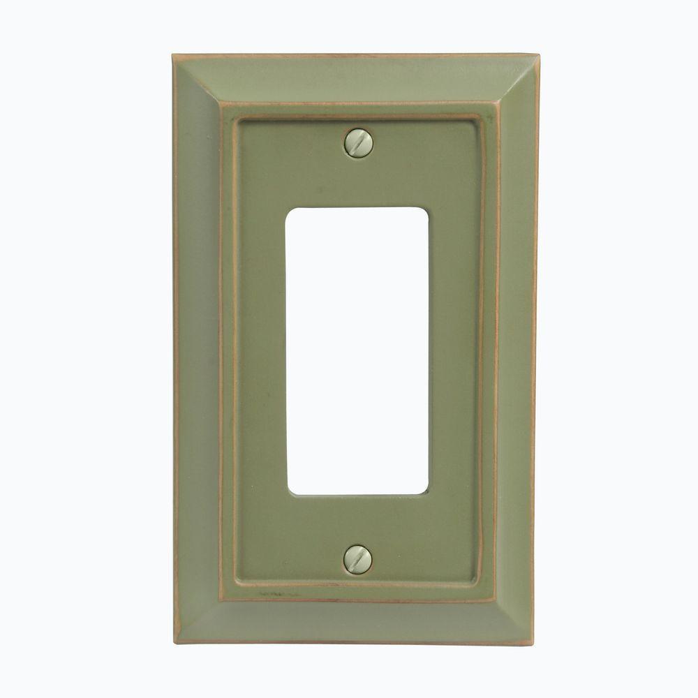 Distressed Matte Wood 1 Decora Wall Plate - Green