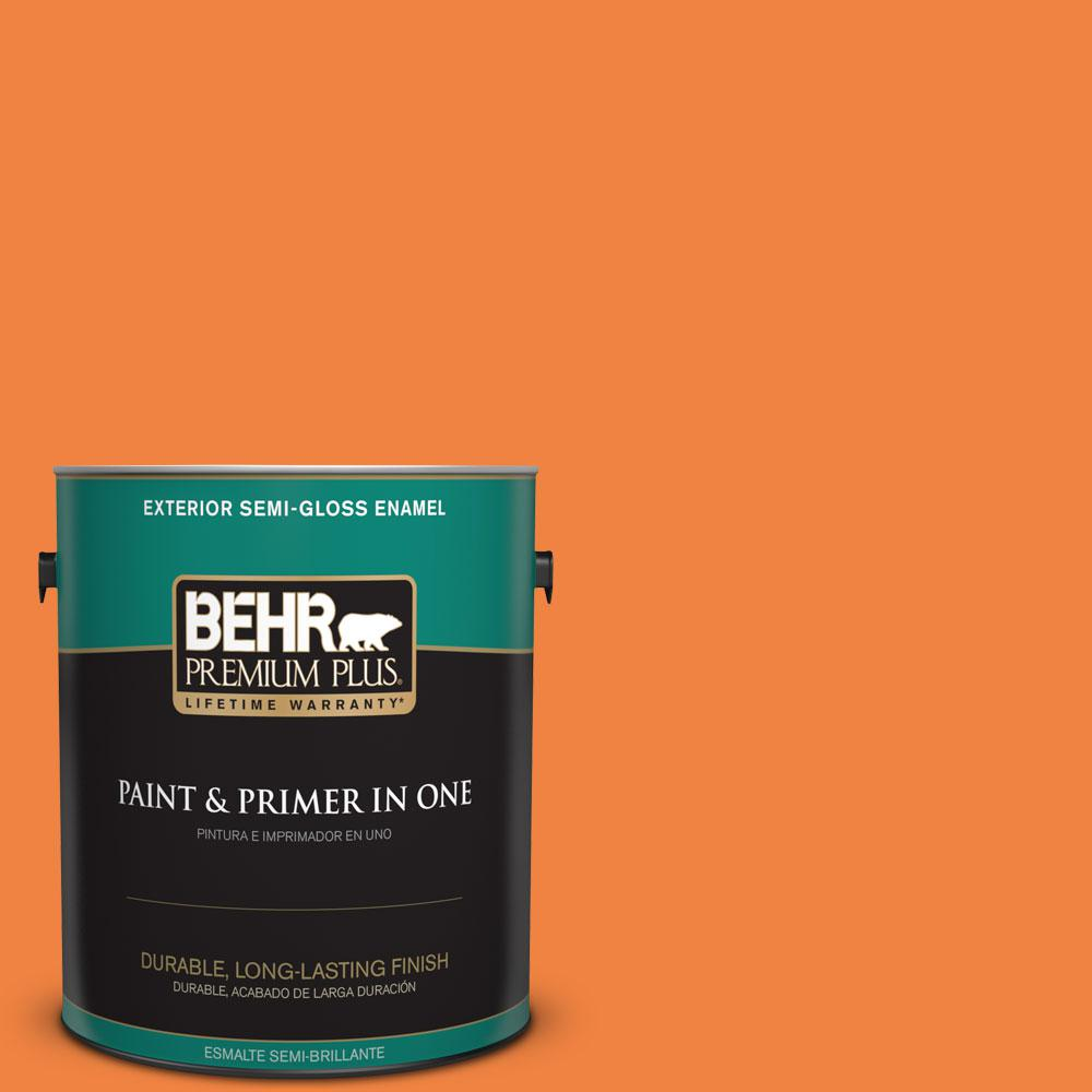 BEHR Premium Plus 1-gal. #P220-7 Construction Zone Semi-Gloss Enamel Exterior Paint