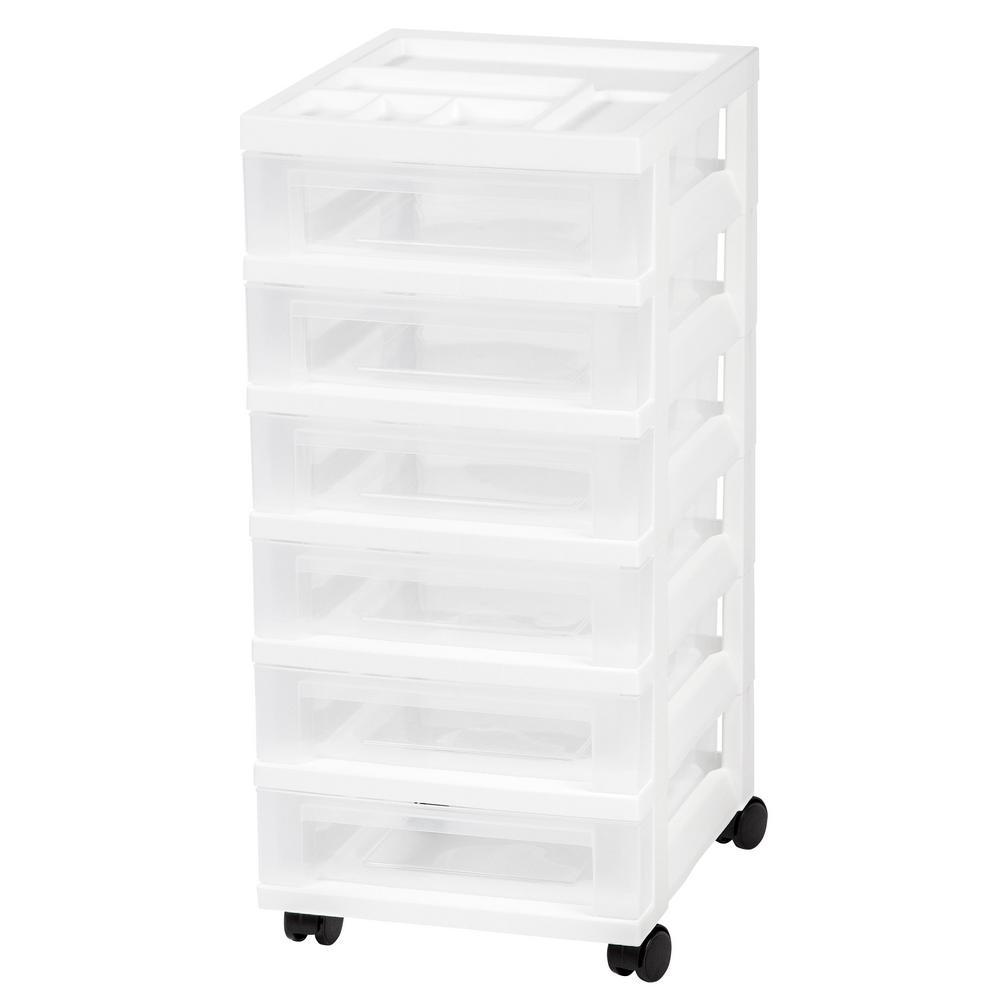 68 Qt. 6-Drawer Cart Storage Bin in White