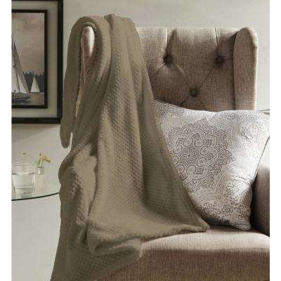 Myrcella Mocha Camel Textured Fleece Throw