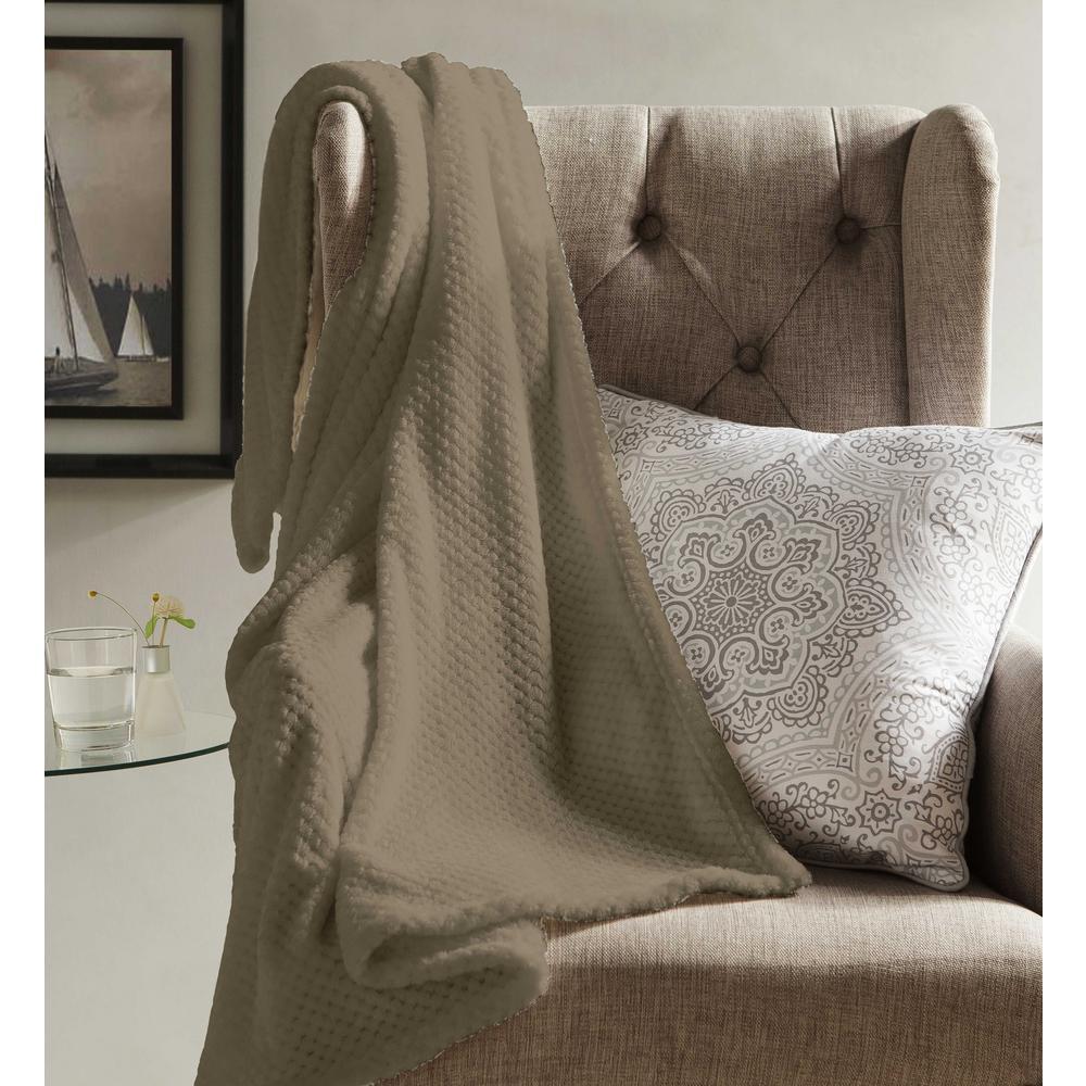 Myrcella Mocha Camel Textured Fleece Throw