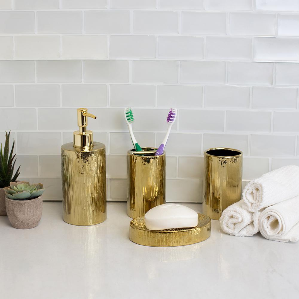 High Gloss Textured Ceramic Modern 4-Piece Bath Accessory Set in Gold