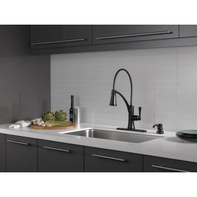 Foundry Single-Handle Pull-Down Sprayer Kitchen Faucet with ShieldSpray and Soap Dispenser in Matte Black