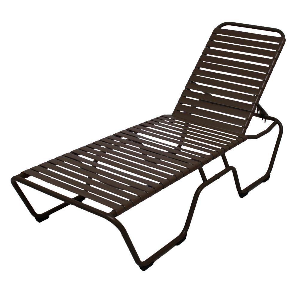 Marco island dark cafe brown commercial grade aluminum vinyl strap outdoor chaise lounge in leisure brown