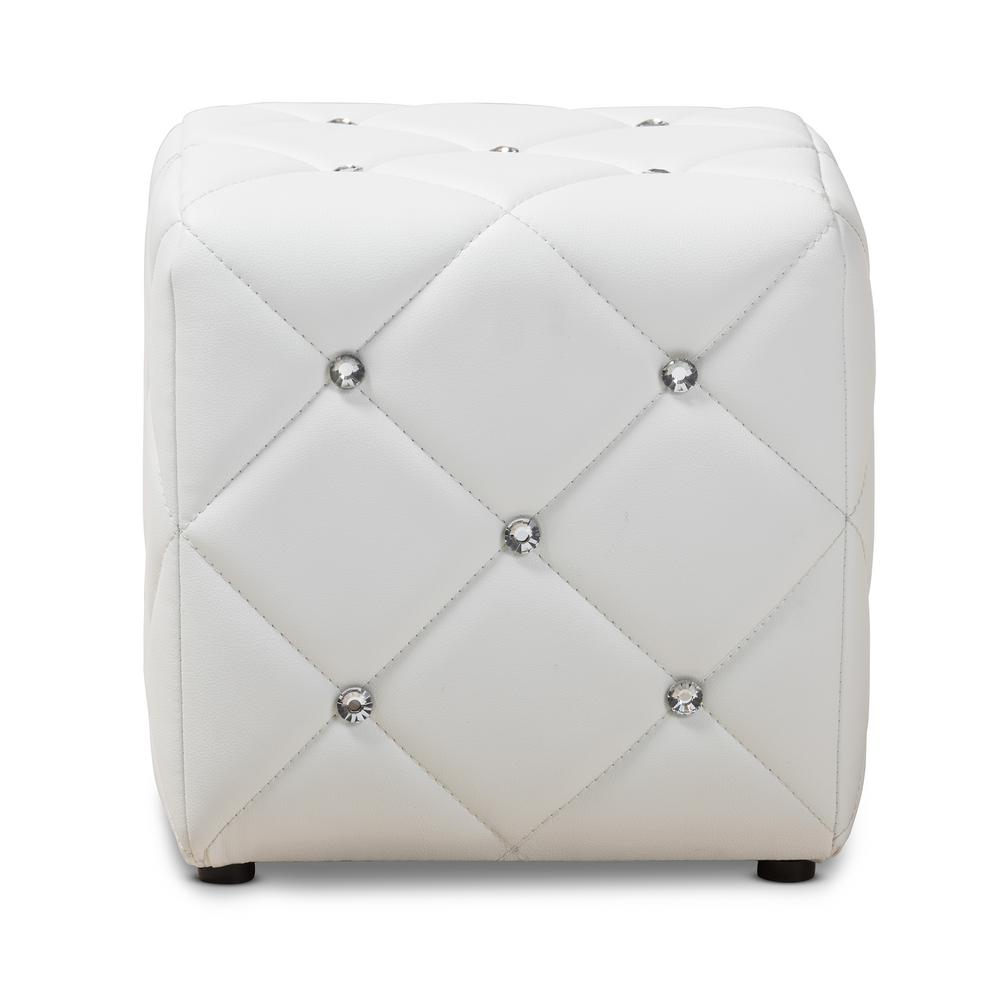 Miraculous Baxton Studio Stacey White Tufted Ottoman 143 8148 Hd The Machost Co Dining Chair Design Ideas Machostcouk