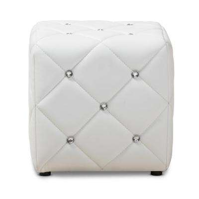 Stacey White Tufted Ottoman
