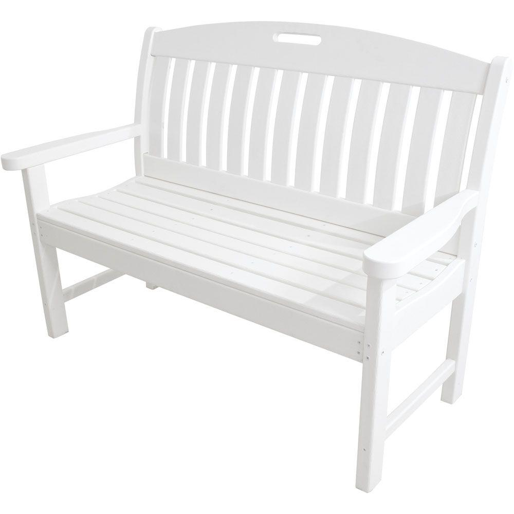 Avalon 48 in. White All-Weather Patio Porch Bench