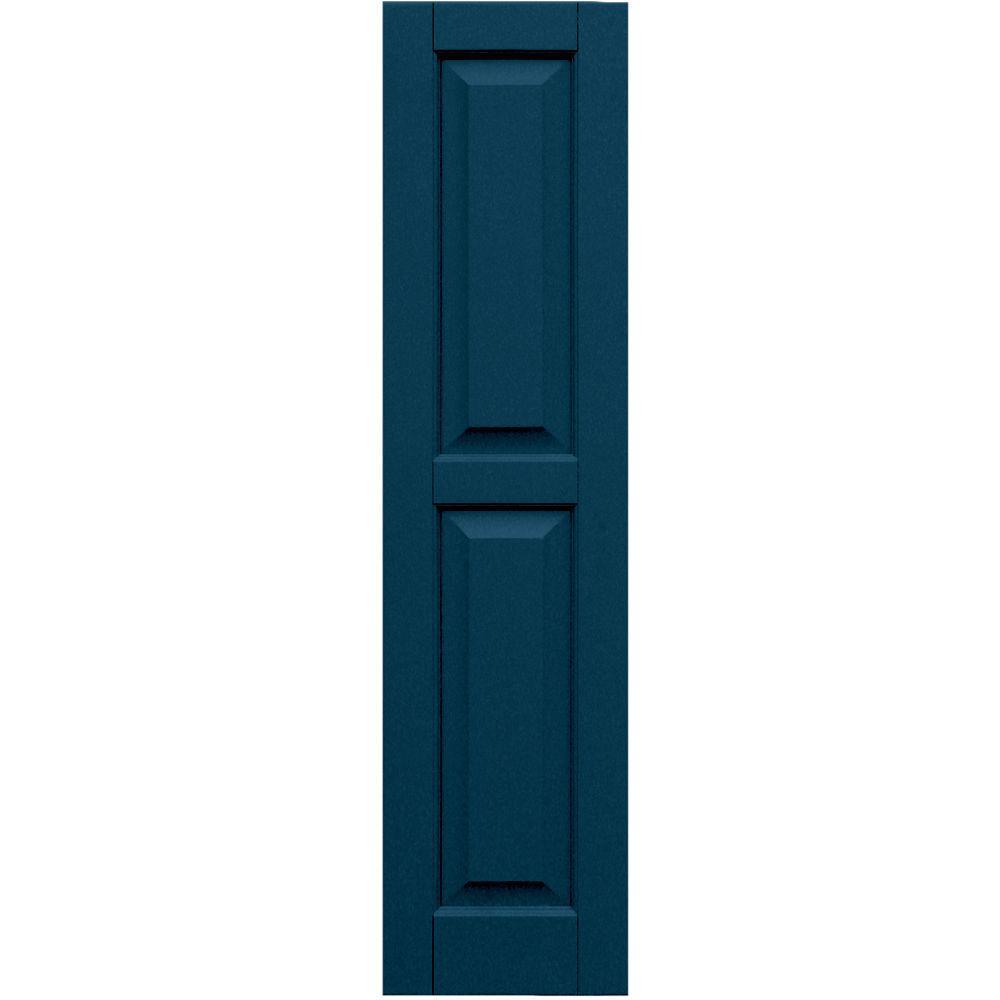 Winworks Wood Composite 12 in. x 49 in. Raised Panel Shutters Pair #637 Deep Sea Blue