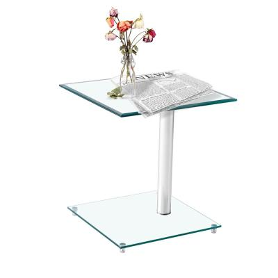 Modern Square C-Shaped Clear Glass End Table