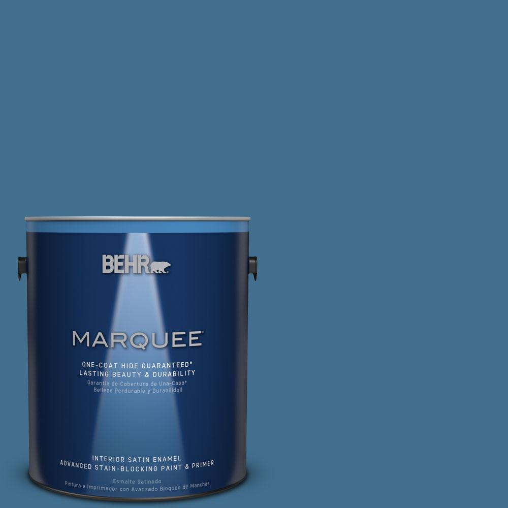1 gal. #M500-5 Sojourn Blue One-Coat Hide Satin Enamel Interior Paint