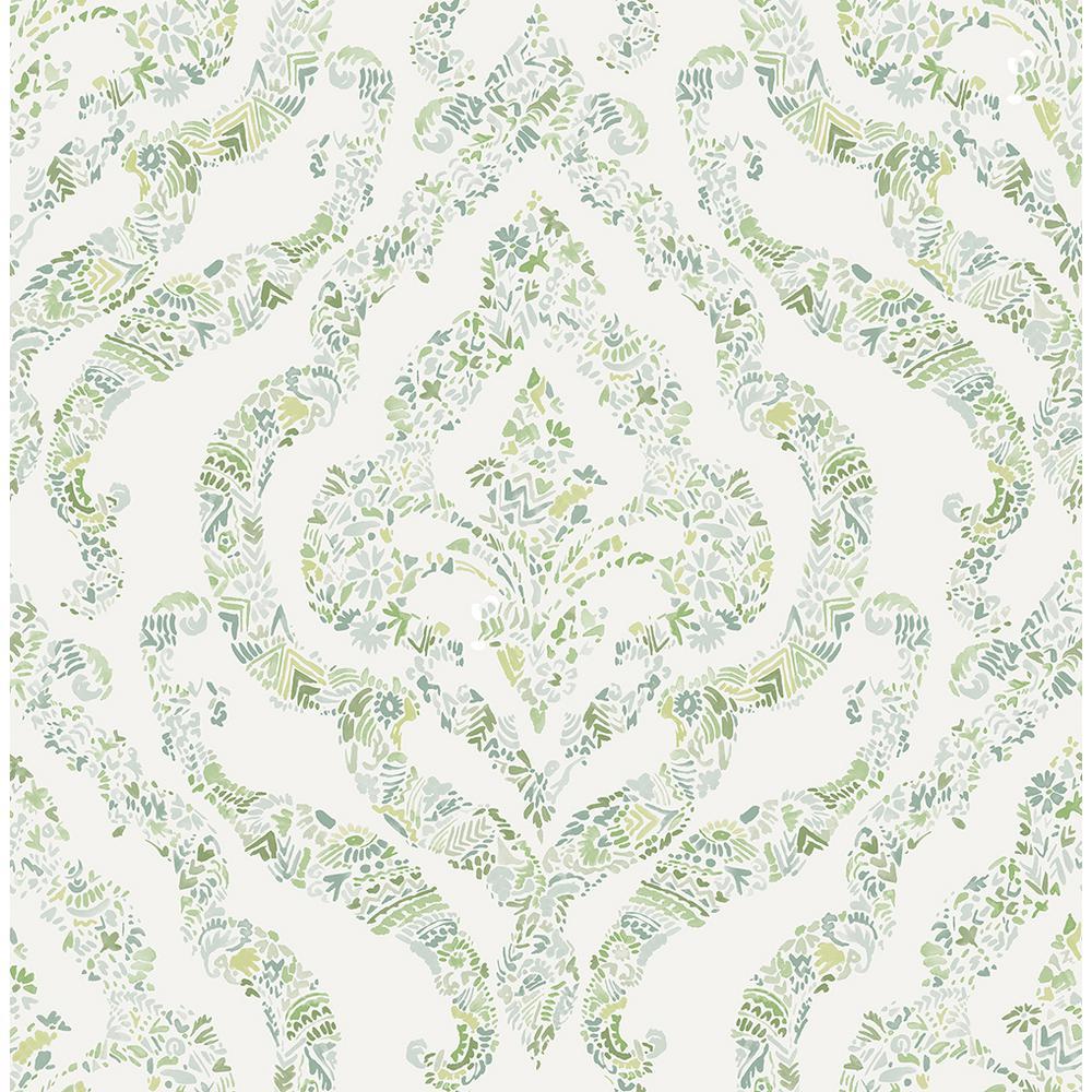A-Street 56.4 sq. ft. Featherton Light Green Floral Damask Wallpaper 2901-25404