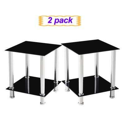 Multi-Functional Black Tempered Glass Side Table(Set of 2)