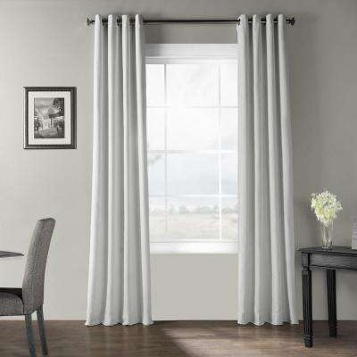 Ultra White Bark Weave Solid Cotton Grommet Curtain - 50 in. W x 84 in. L