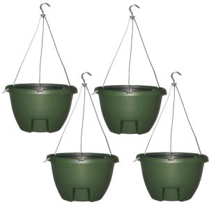 The Weekender 16 inch Forrest Green Polypropylene Hanging Self-Watering Planter