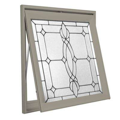 28.5 in. x 28.5 in. Decorative Glass Awning Vinyl Window - Driftwood