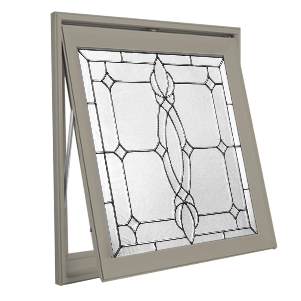 Hy-Lite 28.5 in. x 28.5 in. Decorative Glass Awning Vinyl Window - Driftwood