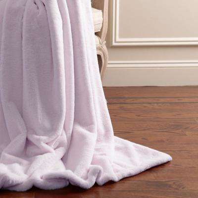 Luxe Faux Fur 84 in. L Lavender Throw