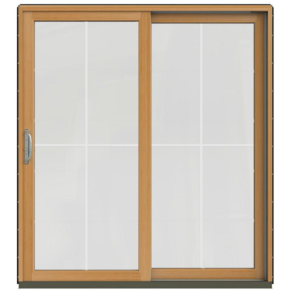 Jeld wen 71 1 4 in x 79 1 2 in w 2500 black prehung Sliding wood patio doors