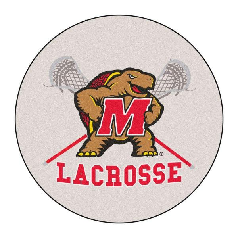NCAA University of Maryland Lacross Logo Cream 2 ft. x 2 ft. Round Area Rug