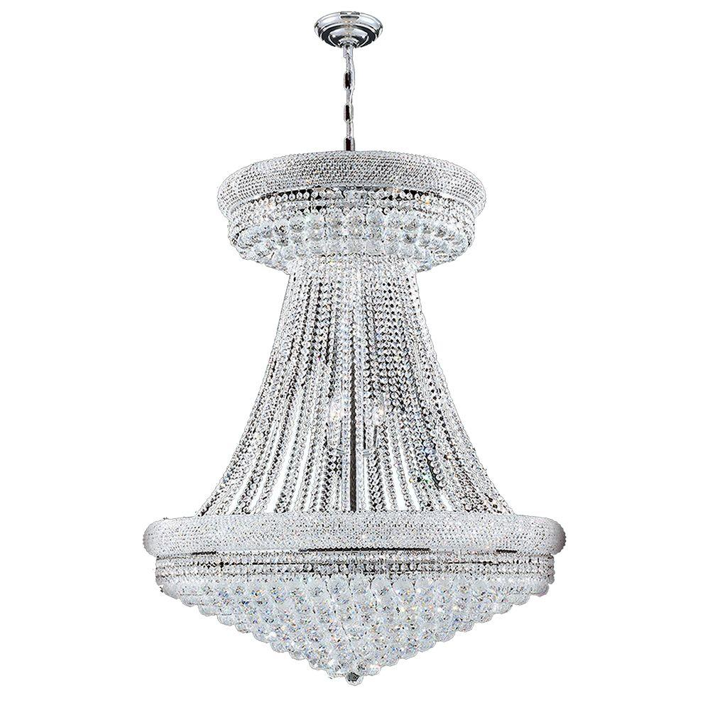 Worldwide Lighting Empire Collection 28-Light Polished Chrome and Clear Crystal Chandelier