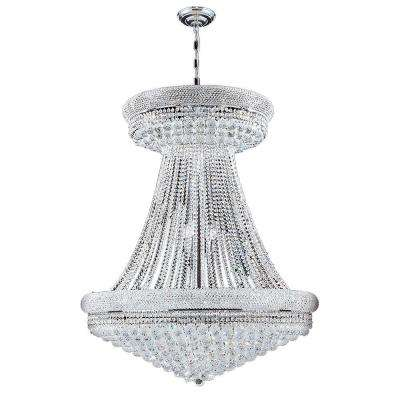 Empire Collection 28-Light Polished Chrome and Clear Crystal Chandelier