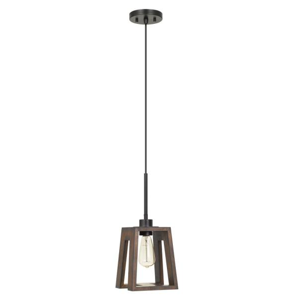 Biel 17 in. H Wood/Iron Metal and Wood Pendant