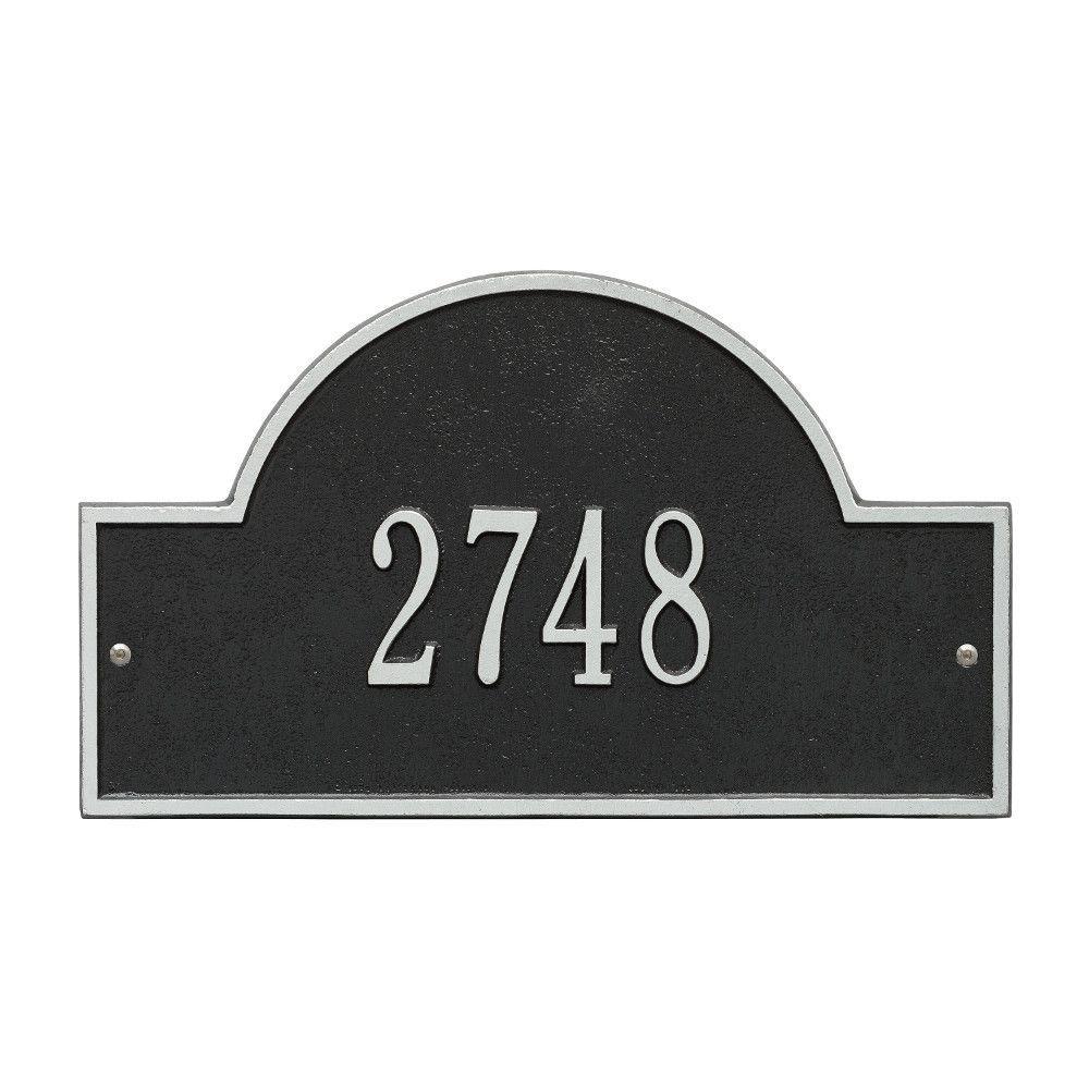 Arch Marker Standard Black/Silver Wall 1-Line Address Plaque