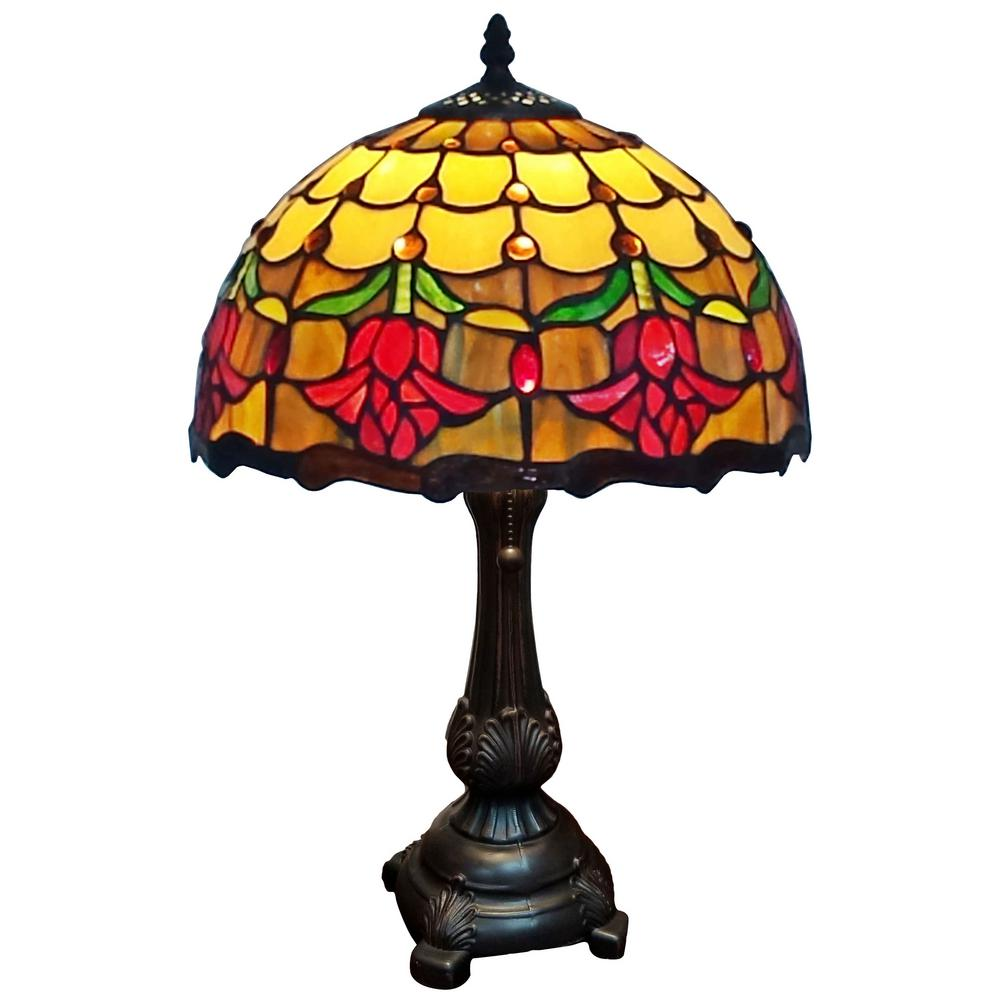19 in. Tiffany Style Tulips Table Lamp