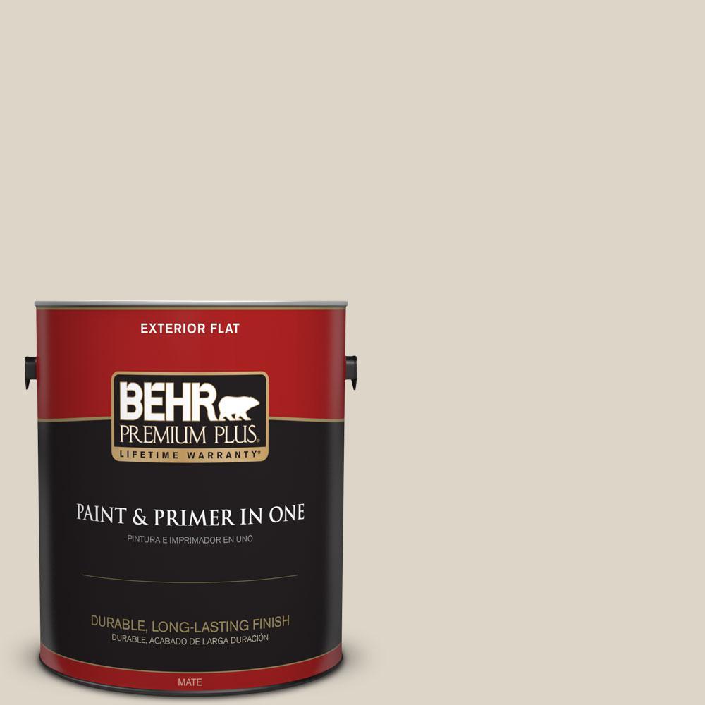 BEHR Premium Plus 1-gal. #N330-2 Prairie Dust Flat Exterior Paint