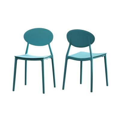 Gleneagle Teal Plastic Armless Chairs (Set of 2)