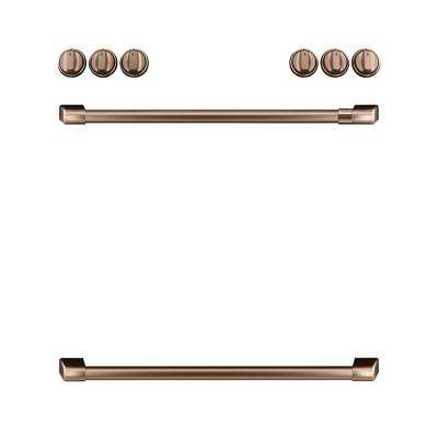 Front Control Gas Range Handle and Knobs Kit in Brushed Copper