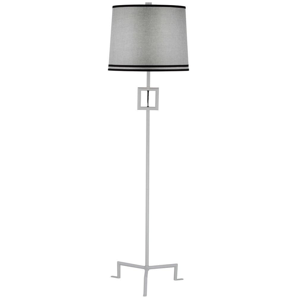 Safavieh Thom Filicia Hanover 63 in. Winter White Floor Lamp with Gray Shade