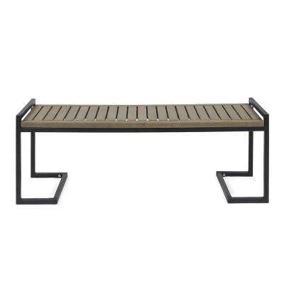 Hopkins 54 in. Grey Wood and Black Metal Outdoor Bench