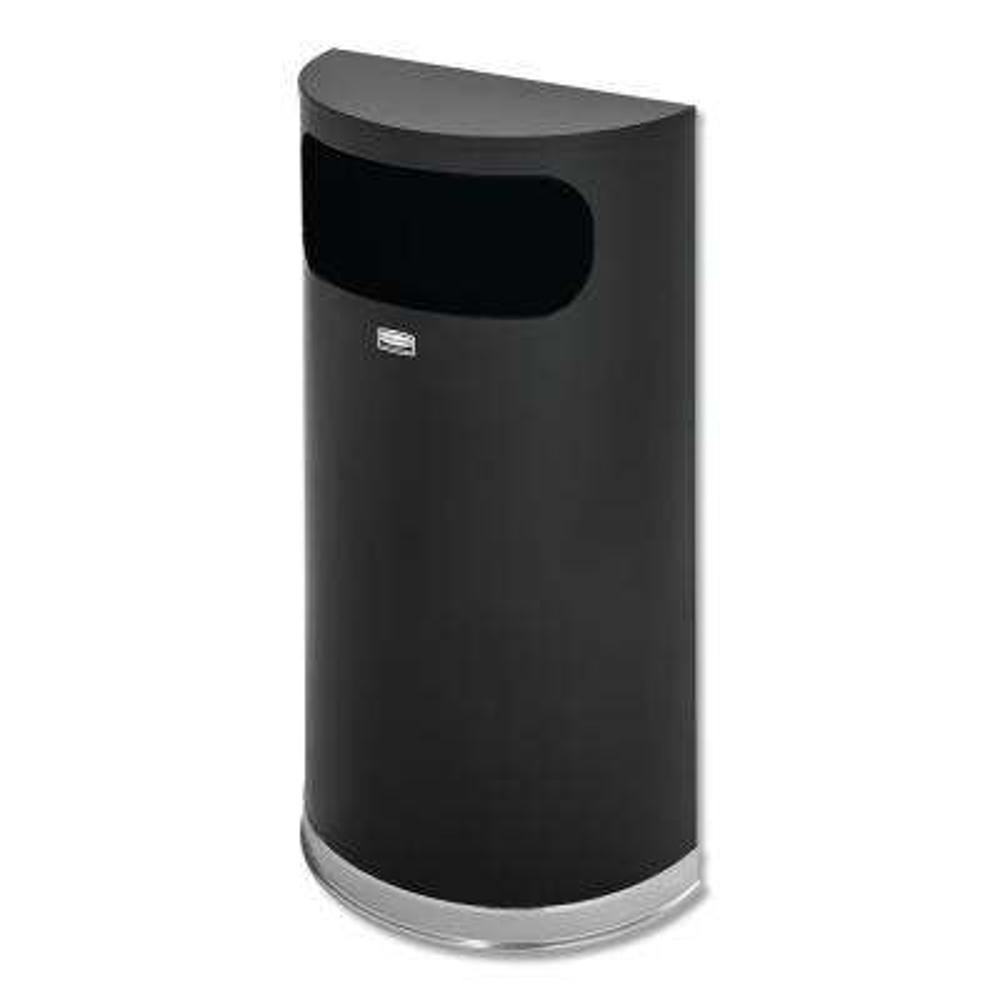 9 Gal. Black/Chrome Half-Round Open Side Fire-Safe Trash Can