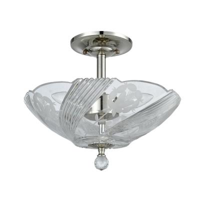 Grove Park 10 in. Polished Chrome Flush Mount/Semi Flush Mount with Solid Crystal Shade