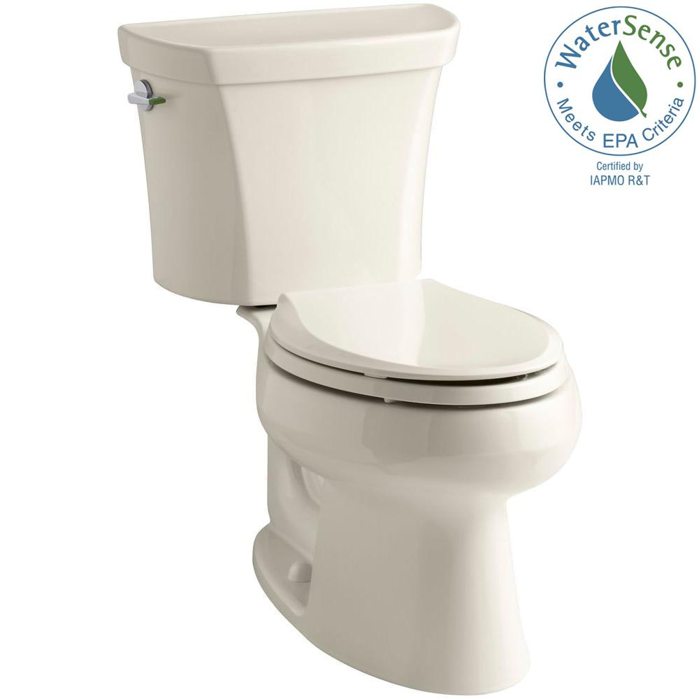 KOHLER Wellworth 2-piece 1.1 or 1.6 GPF Dual Flush Elongated Toilet in Almond