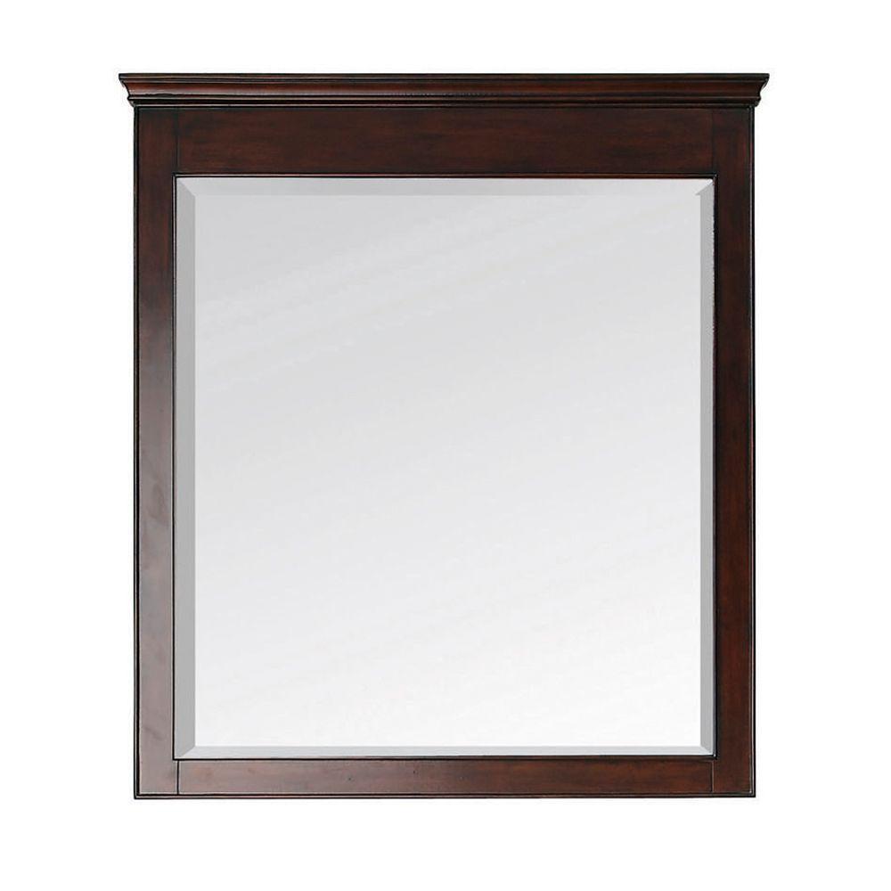 Windsor 38 in. L x 34 in. W Wall Mirror in Walnut
