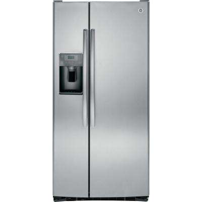 33 in. W 23.2 cu. ft. Side by Side Refrigerator in Stainless Steel, with Icemaker