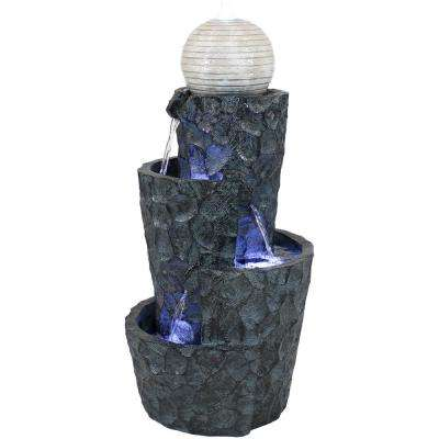 32 in. Hewn Spiral Tower Outdoor Water Fountain with LED Lights