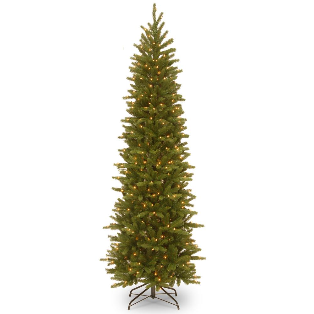 National Tree Company 9 ft. Grand Fir Pencil Slim Tree with Clear Lights