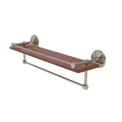 Monte Carlo Collection 22 in. IPE Ironwood Shelf with Gallery Rail and Towel Bar in Polished Nickel