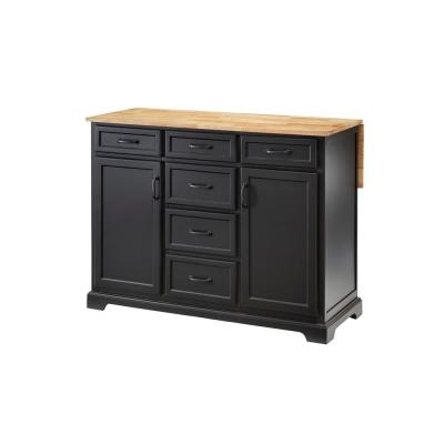 Home Decorators Collection Black Kitchen Island with Natural Butcher Block Top