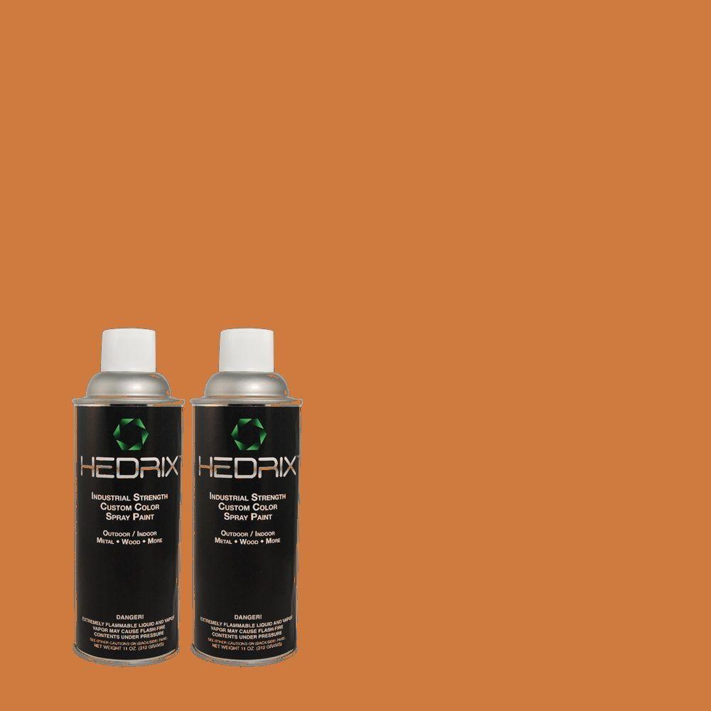 Hedrix 11 oz. Match of PPU3-2 Marmalade Glaze Flat Custom Spray Paint (8-Pack)