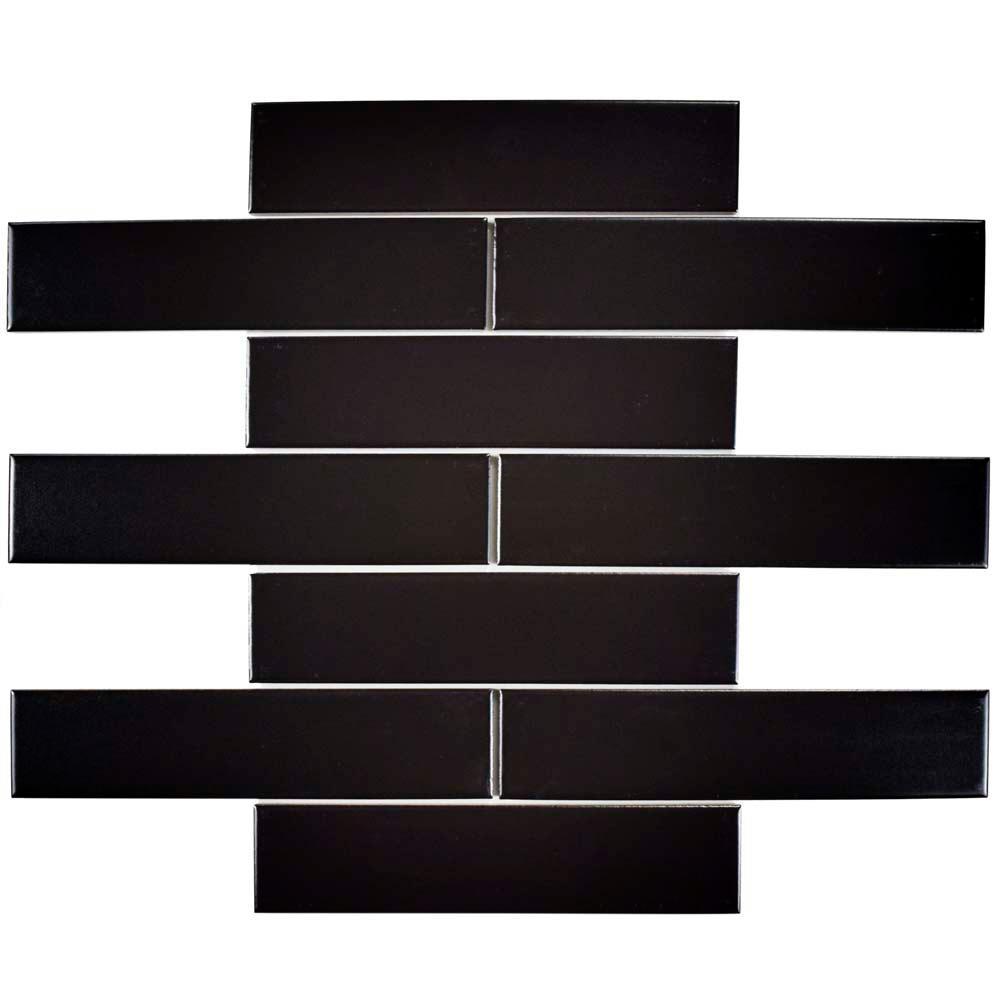 Merola Tile Metro Soho Subway Matte Black 1-3/4 in. x 7-3...
