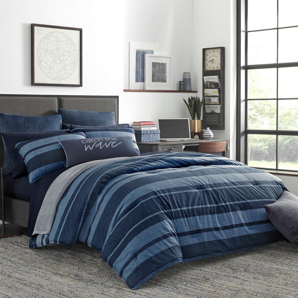 Longpoint 3-Piece Navy Blue Cotton Full/Queen Comforter Set