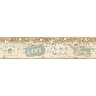 Kinsey Cream Live Laugh Love Wallpaper Border Sample