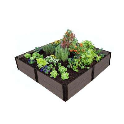 One Inch Series 8 ft. x 8 ft. x 11 in. Weathered Wood Composite Raised Garden Bed