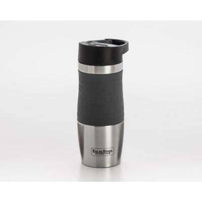 14 oz. Grey Double Walled Stainless Steel Coffee Tumbler with Hanging Loop
