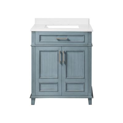 Highgate 30 in. W x 22 in. D Vanity in Antique Manhattan Blue with Cultured Marble Vanity Top in White with White Basin