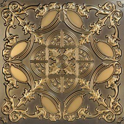 Golden Prague 2 ft. x 2 ft. PVC Glue-up Ceiling Tile in Antique Gold